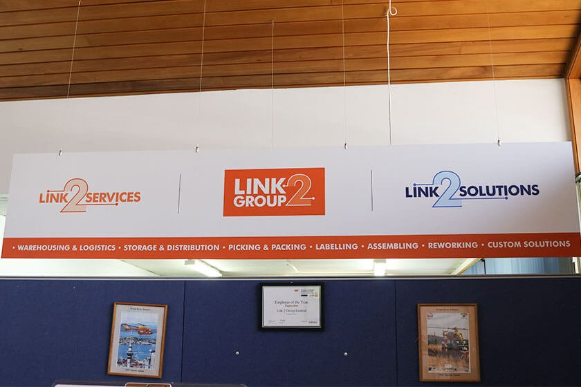 Link2 Group new look reception sign